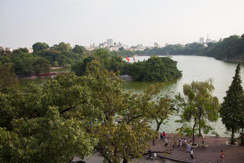 A view of Ngoc Son Temple, The Huc Bridge, and Hoan Kiem Lake.