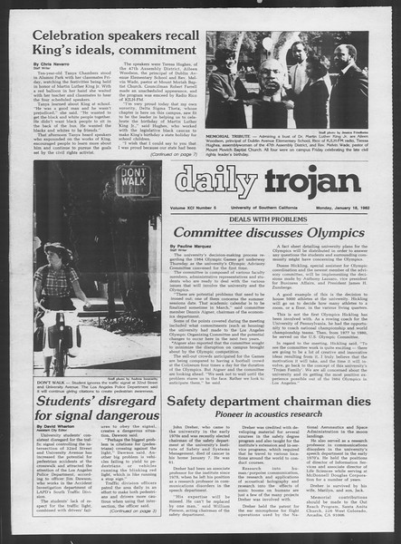 Daily Trojan, Vol. 91, No. 5, January 18, 1982