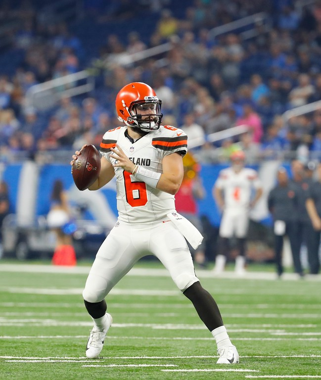 . Cleveland Browns quarterback Baker Mayfield looks downfield during the first half of an NFL football preseason game against the Detroit Lions, Thursday, Aug. 30, 2018, in Detroit. (AP Photo/Rick Osentoski)