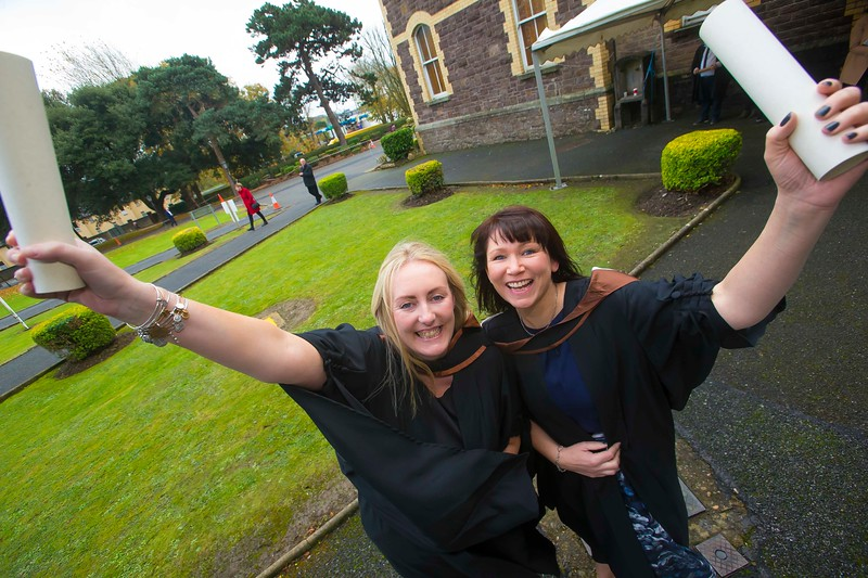 30/10/2015. Waterford Institute of Technology Conferring.  Pictured is Helen Goff of Wexford with Caragh Naluswa, Wexford who Graduated Bachelor of Science (Hons) in Architectural & Building Information Modelling Technology. Picture: Patrick Browne