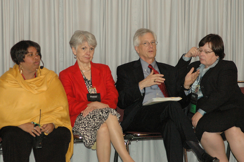 From left, Ava Martin, Myrna Sheie, Secretary David Swartling, and Ruth Hamilton showing signs of an exhausting week.