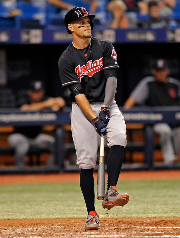 . Cleveland Indians\' Brandon Guyer reacts to a called third strike from Tampa Bay Rays starter Blake Snell during the fourth inning of a baseball game Thursday, Aug. 10, 2017, in St. Petersburg, Fla. (AP Photo/Steve Nesius)