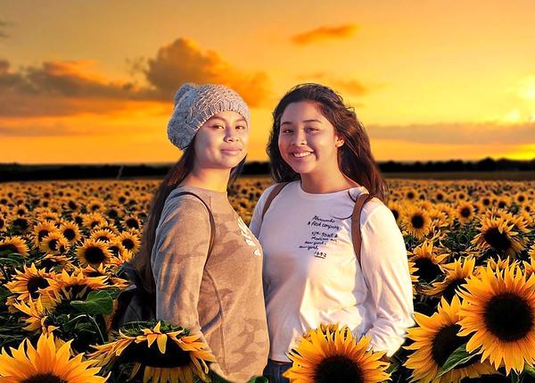 Girls Sunflower Field