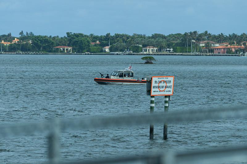 A Coast Guard Boat patrols the Intracoastal Waterway  in front of Mar-a-Lago on Sunday,  February 16, 2020. [JOSEPH FORZANO/palmbeachpost.com]