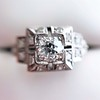 0.58ctw Old European Cut Diamond Art Deco Illusion Ring 4