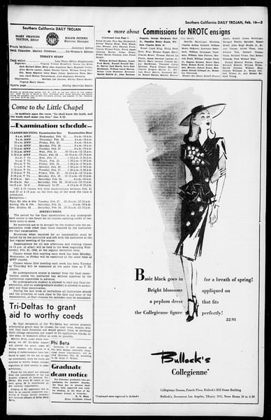 Daily Trojan, Vol. 36, No. 70, February 16, 1945