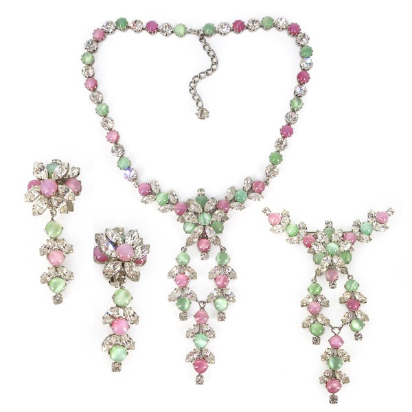 Vintage Mid Century Pink & Green Glass Paste Necklace Earrings & Brooch Set