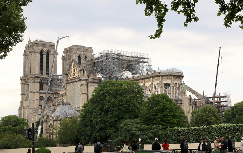 Notre Dame in the aftermath of the fire that occurred on April 15, 2019.