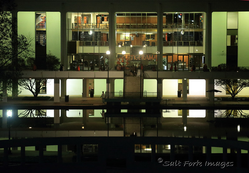 The Robert Muldrow Cooper Library (and it's reflection) on the campus of Clemson University - Clemson, South Carolina