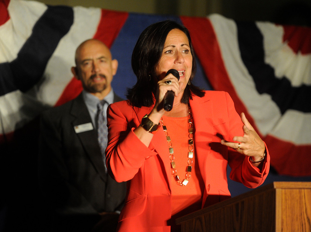 . PUEBLO, CO. - SEPTEMBER 10: State Senator Angela Giron encouraged supporters to stay positive as election results came in Tuesday night September 10, 2013.  Giron faces a recall in District 3. Photo By Karl Gehring/The Denver Post