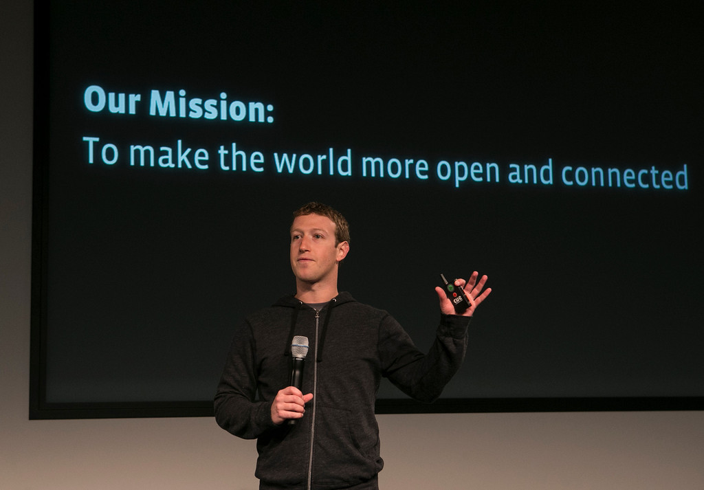 . Facebook CEO Mark Zuckerberg introduces the redesign of the Facebook \'news feed\' page during a launch event hosted at Facebook in Menlo Park, Calif., on Thursday, March 7, 2013. (John Green/Staff)