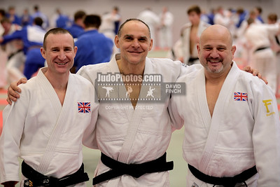 2013 Tonbridge Judo Training Camp 131220A5375: Coaches relaxing (L-R) Carl Finney GBR, Russian coach and Olympic champion, Ezio Gamba of Italy and....