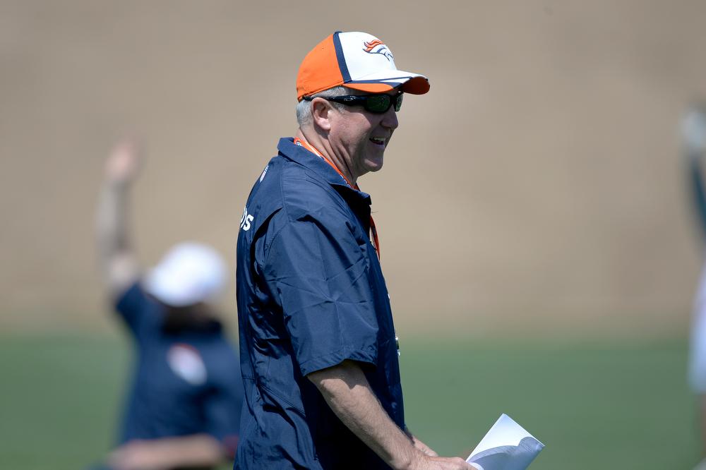 . Denver Broncos head coach John Fox smiles during OTAs June 12, 2014 at Dove Valley. (Photo by John Leyba/The Denver Post)