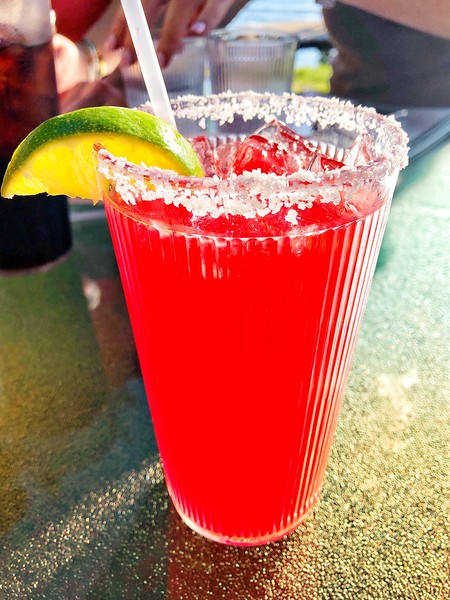 cherry margarita with lime and salted rim