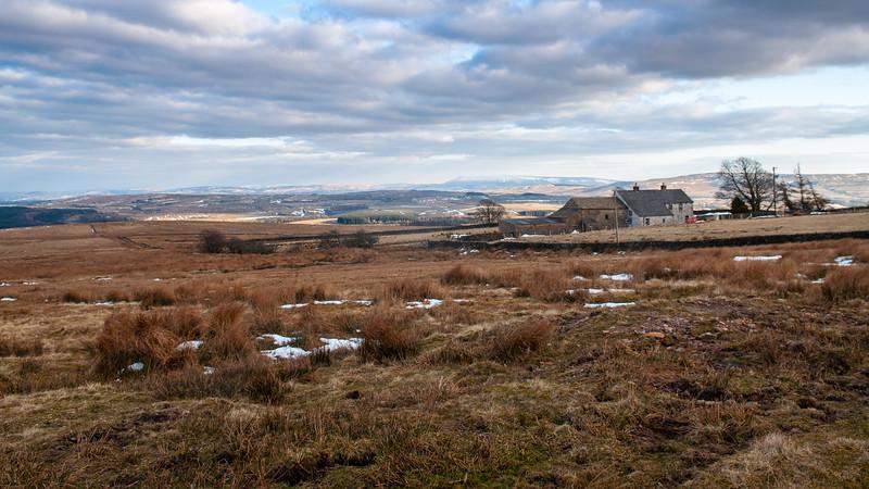 Bowland moors and farmhouse