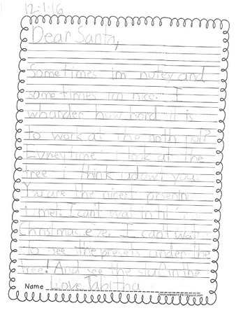 Mrs. Armstrong's first grade Letters to Santa, 12/8/2016