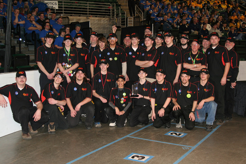 The team in 2008 at a competition after winning an award.