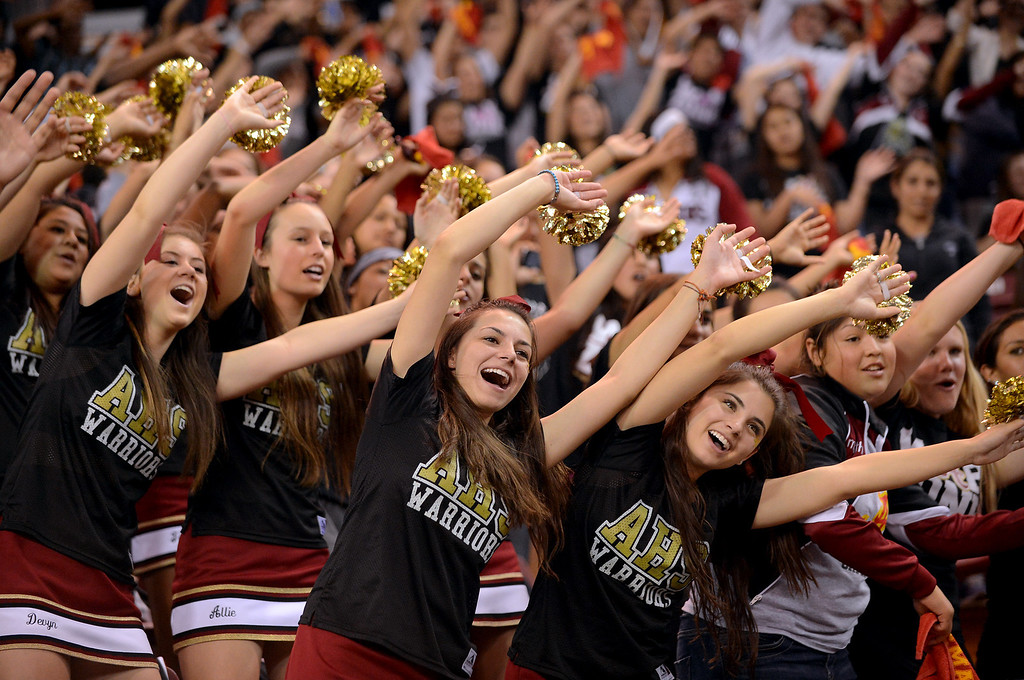 . Alemany cheerleaders support their team during the Div III 2013 CIF State Basketball Championship game at the Sleep Train Arena, in Sacramento, Ca March 22, 2013.  Alemany won the game 46-40.(Andy Holzman/Los Angeles Daily News)