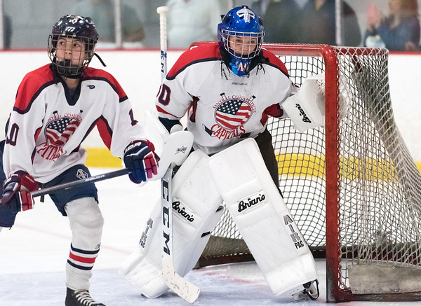 07/26/18 Wesley Bunnell | Staff Central CT Capitals (Newington) 14U skated to a scoreless tie against Simsbury on Thursday evening at Newington Arena in a Nutmeg Games contest. Goal keeper Jacob Markowitz (30) and Andrew Hazard (10).