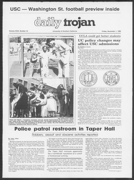 Daily Trojan, Vol. 100, No. 44, November 01, 1985