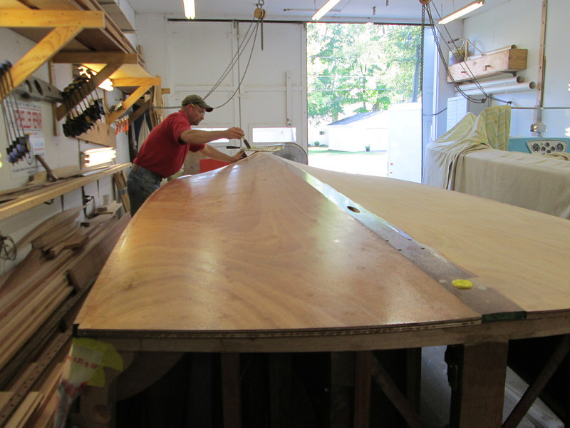 First coat of epoxy being applied to the bottom.