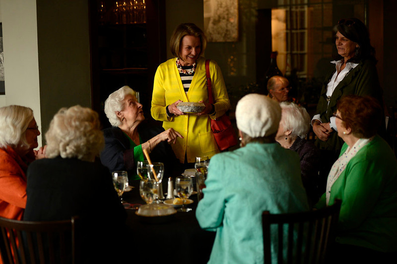 . Carol Powers (seated) introduces her daughter Kathleen Wusson to her Pi Beta Phi sorority sisters as she is leaving after celebrating the birthday of her friend on the last day of service as the Denver favorite closes April 30, 2013 Denver, Colorado. (Photo By Joe Amon/The Denver Post)