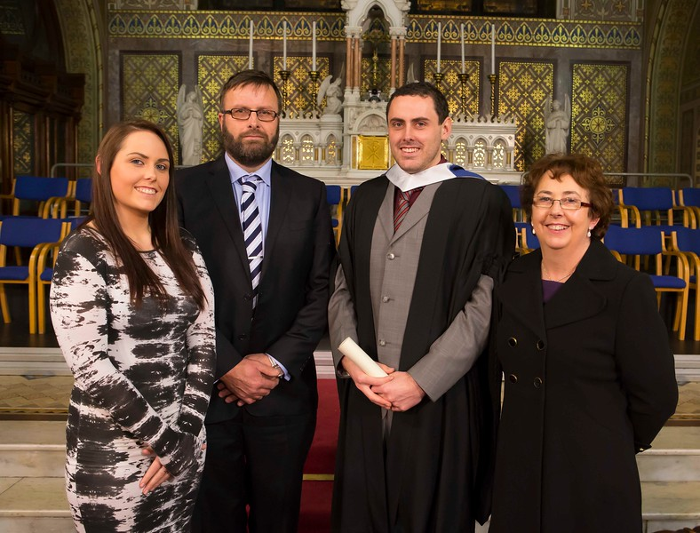 Waterford Institute Of Technology Conferring. Pictured at WIT Waterford Institute Of Technology Conferring is Rory O'Niell, New Ross who graduated Bachelor of Science in Horticulture. Also pictured are Geraldine, Niall and Maureen O'Niell. Picture: Patrick Browne