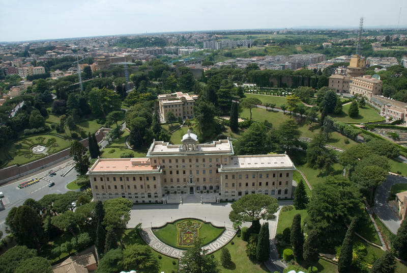 A panorama of the gardens from atop St. Peter's Basilica