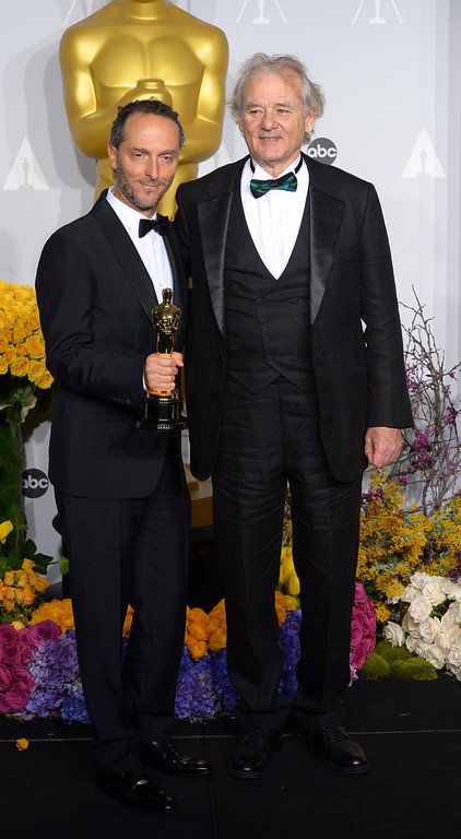 ". Emmanuel Lubezki accept the Award for ""Achievement in Cinematography\"" for the film Gravity, with Bill Murray backstage at the 86th Academy Awards at the Dolby Theatre in Hollywood, California on Sunday March 2, 2014 (Photo by David Crane / Los Angeles Daily News)"