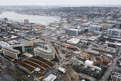 Pictured is the South Lake Union neighborhood as seen from the roof of the Space Needle in Seattle, Wash. on Feb. 4, 2015. Key landmarks in this photo include (left to right) the Gates Foundation headquarters, Amazon.com's ever-growing empire and KING-5s soon to be closed television studio and the Northend exit tunnel of the Bertha dig.