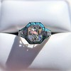 2.23ct Art Deco Emerald Cut and Turquoise Halo Ring 8