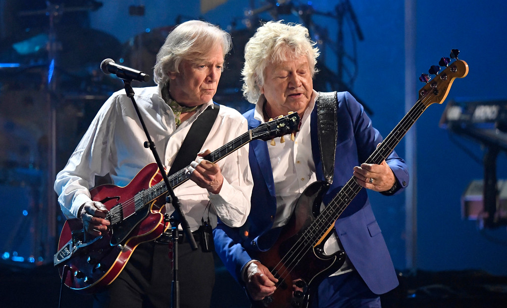 . Justin Hayward, left, and John Lodge of the Moody Blues perform during the Rock and Roll Hall of Fame induction ceremony Saturday, April 14, 2018, in Cleveland. (AP Photo/David Richard)
