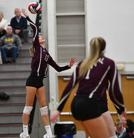 11/14/2019 Mike Orazzi | StaffrBristol Central High School's Emily Ericson (13) during the Class L Second Round Girls Volleyball Tournament against St. Joseph at BCHS. r