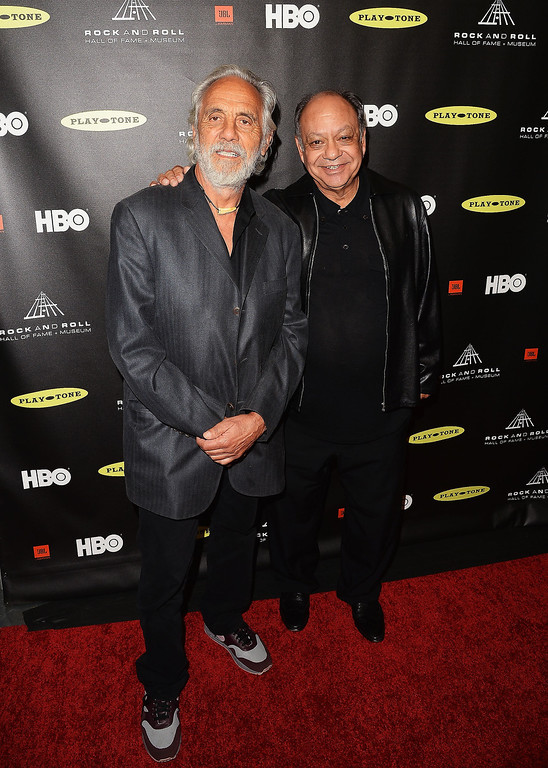 . Actors Tommy Chong, left, and Cheech Marin arrive at the 28th Annual Rock and Roll Hall of Fame Induction Ceremony at Nokia Theatre L.A. Live on April 18, 2013 in Los Angeles, California.  (Photo by Jason Merritt/Getty Images)