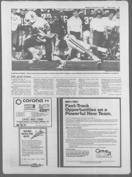 Daily Trojan, Vol. 105, No. 47, November 09, 1987
