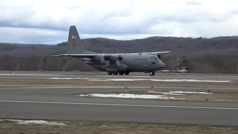 4-17-18...YANKEE21, C-130H doing touch and gos...shot from in front of tower...showed Tom my AX-53