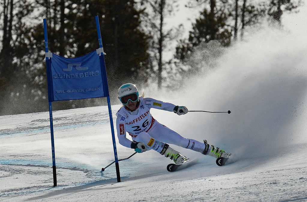 . BEAVER CREEK, CO - FEBRUARY 12: Julia Mancuso of the United States competes in the first run of the Ladies Giant Slalom event at the FIS Alpine World Ski Championships in Beaver Creek, CO. February 12, 2015. (Photo By Helen H. Richardson/The Denver Post)