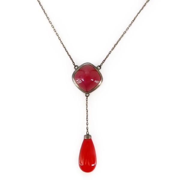 Vintage Art Deco German Silver Cherry Red Glass Drop Necklace