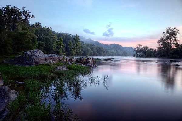 An HDR image of Great Falls National Park at sunrise.