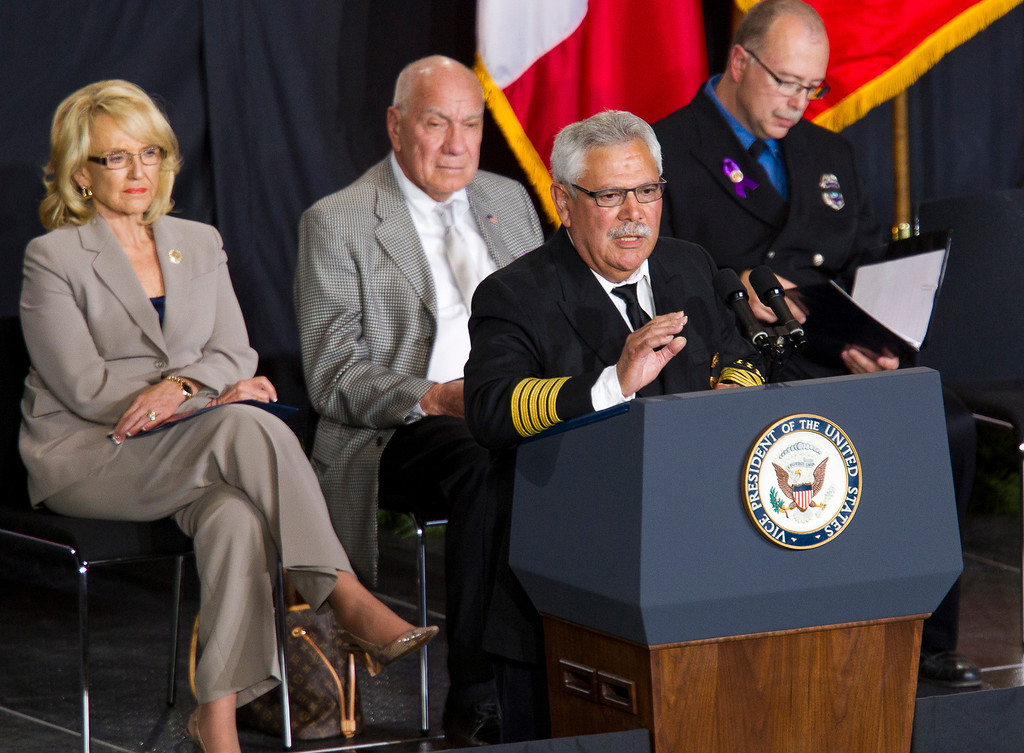 . Prescott Fire Chief Dan Fraijo speaks during a memorial service for the 19 fallen firefighters at Tim\'s Toyota Center in Prescott Valley, Ariz. on Tuesday, July 9, 2013.   (AP Photo/The Arizona Republic, Michael Chow, Pool)