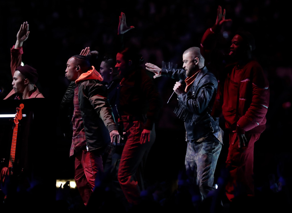 . Justin Timberlake performs during halftime of the NFL Super Bowl 52 football game between the Philadelphia Eagles and the New England Patriots , Sunday, Feb. 4, 2018, in Minneapolis. (AP Photo/Tony Gutierrez)