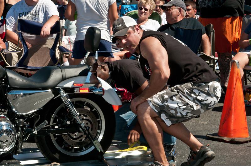 Stevie Big Bench Manhandling a Harley for Dragging