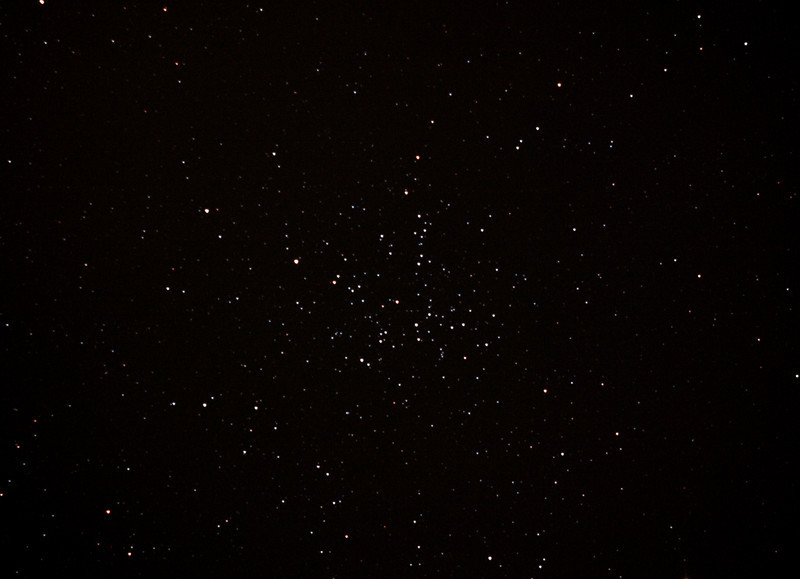 Messier M38 - NGC1912 Open Cluster in Auriga - 2/2/2013 (Processed cropped stack)  DeepSkyStacker 3.3.2 Stacked 85% of 8 Images ISO 800 120 Sec, 40 DARK, 75 BIAS, 0 FLATS, Post-processed with Adobe Photoshop CS5  Telescope - Bintel BT200 f/4.0 Newtonian (borrowed from Stephen Boyd) with Baader MPCC Coma Corrector, Hutech LPS-P2 filter, Canon 40D DSLR field 64' x 95', Ambient 26C.  EQMOD EQASCOM with Ascom 6 for mount countrol. Backyard EOS 2.09 for Image acquisition. Mount - Skywatcher NEQ6 Pro. Guidescope - Orion ShortTube 80 with Starlight Xpress Superstar (mono) CCD guide camera and Stark Labs PHD auto guiding software.