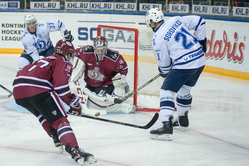 Goalie of Dinamo Riga Jakub Sedlacek (36) save the goal in the KHL regular championship game between Dinamo Riga and Dynamo Moscow, played on October 3, 2016 in Arena Riga