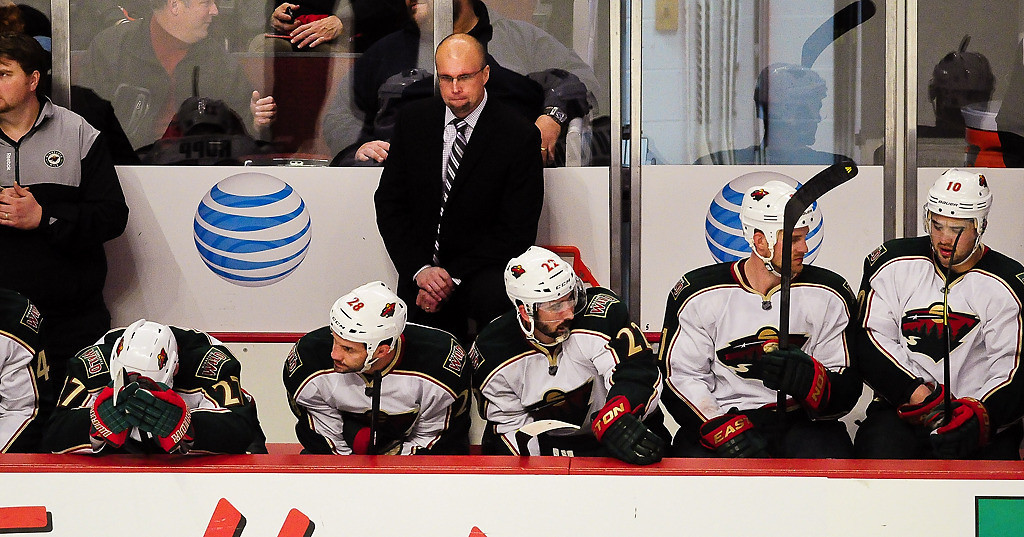 . The Wild bench seemed tired in the third period. (Pioneer Press: Ben Garvin)
