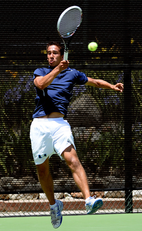 . University\'s (Irvine) Arash Hafezi returns a shot San Marino\'s Timothy Doung (not pictured) during the CIF State Tennis Championship at the Claremont Club in Claremont, Calif., on Saturday, May 31, 2014. Hafezi won 6-0, 6-1.   (Keith Birmingham/Pasadena Star-News)