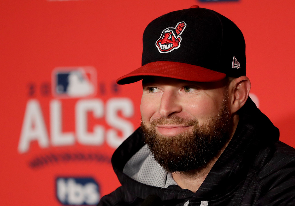 . Cleveland Indians starting pitcher Corey Kluber speaks during a news conference in Cleveland, Thursday, Oct. 13, 2016, in preparation for Game 1 of baseball\'s American League Championship Series. The Toronto Blue Jays will face the Indians on Friday. (AP Photo/Matt Slocum)