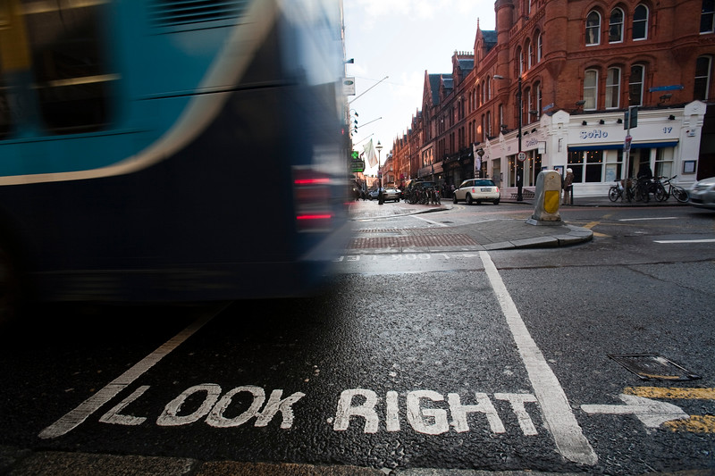 "The sign ""look right"" on the road, Dublin, Ireland"
