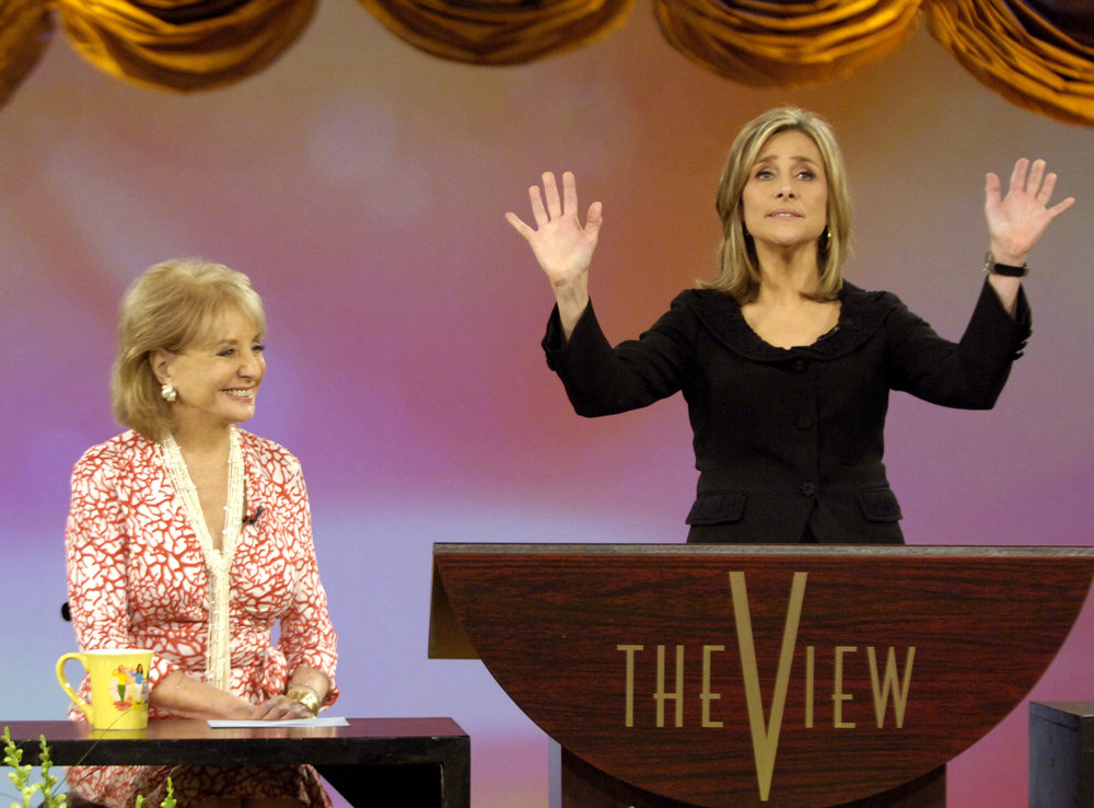""". This photo, supplied by ABC, shows Meredith Vieira saying her goodbyes on ABC\'s \""""The View\"""" television talk show as her co-host Barbara Walters, left, smiles on during  Vieira\'s farewell show  in New York Friday, June 9,2006. Vieira is leaving to join \""""Today\"""" on NBC is September.(AP Photo/ ABC ,Steve Fenn)"""