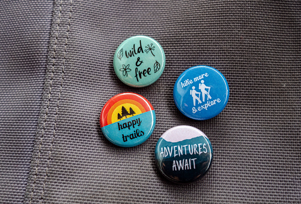 Hiking Pinback Buttons - best gifts for hikers